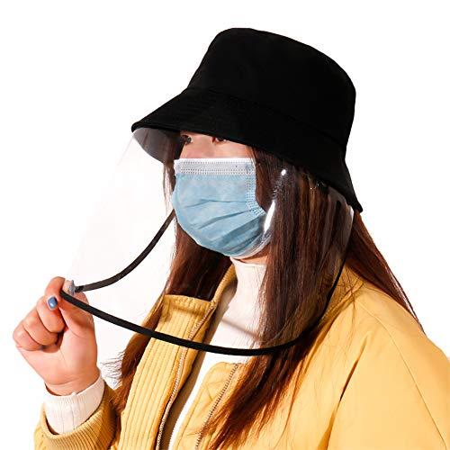 BCXGS vishoed met gezichtsbeschermingsafdekking, antispuck-speeksel-abber, uniseks beschermhoes, Fisherman cap zonnehoed, zwarte kap met bionische gezichtsbescherming