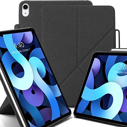 KHOMO Funda iPad Air 4-10.9 - 2020 Origami Smart Cover Vertical Horizontal con Bordes de Silicona Negra y Soporte para Apple Pencil 2 - Gris Oscuro