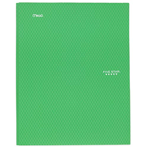 """Five Star 2-Pocket Folder, Stay-Put Folder, Plastic Colored Folders with Pockets & Prong Fasteners for 3-Ring Binders, For Home School Supplies & Home Office, 11"""" x 8-1/2"""", Green (72111)"""