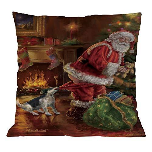jieGorge Cotton Linen Christmas Pillow Case Sofa Car Throw Cushion Cover Home Decor, Pillow Case, for New Year (D)