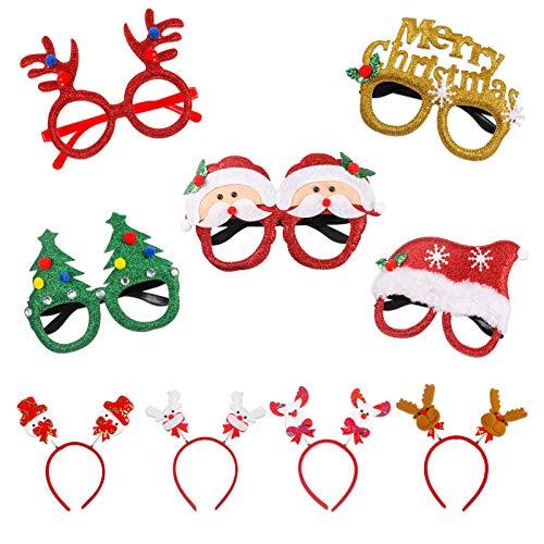 sookin 5 Stück Weihnachten Brillenrahmen und 4 Stück Stirnbänder, Santa, Schneemann, Hüte Kostüm Weihnachten Kostüm Geschenke für Kinder und Erwachsene Party Favor Supplier Dekoration