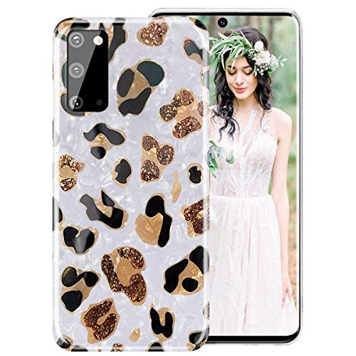 iDLike Galaxy S20 Case for Girls Women,Leopard Cheetah Print Cute Design Soft Silicone Protective Phone Case with Sparkly Pearly-Lustre Shell Pattern for Samsung Galaxy S20 6.2 inch 2020,White