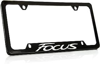 Ford Focus Black Coated Metal Bottom Engraved License Plate Frame Holder