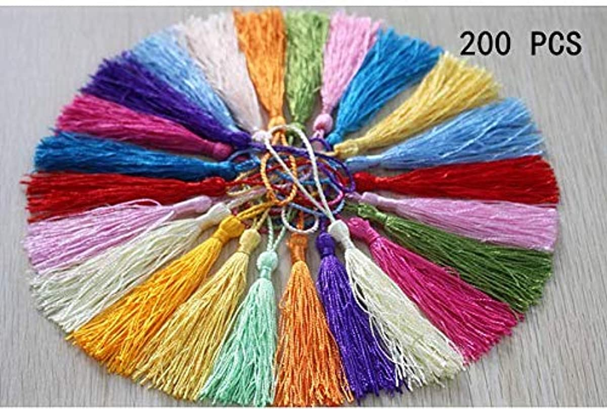 Swity Home 200 pcs 5 inch Silky Tassels Handmade Soft Craft Mini Tassels with Loops and Small Chinese Knot for Jewelry Making Souvenir Bookmarks DIY Craft Accessory Decoration 20 Colors 10 Pcs of Each