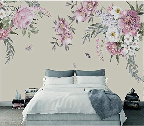 papel pintado pared 3d moderno papel de pared Fleece No tejido fotomurales decorativos pared murales 250x175cm Flores acuarela
