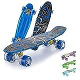 Skateboard Mini Cruiser Retro Board Completo con Cuscinetti ABEC-7 e Ruote PU Ideale per Bambini Adolescenti e Adulti Ragazzo e Ragazza-blu2