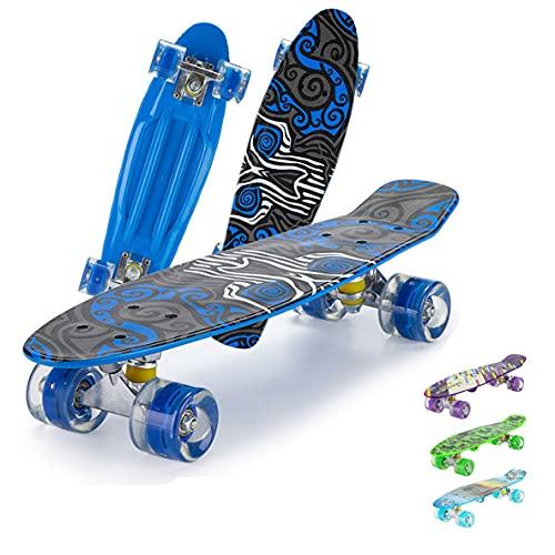Skateboard Komplette Mini Cruiser Skateboard für Anfänger,22 Zoll Cruiser-Board mit LED Leuchtrollen für Erwachsene Kinder Jungen Mädchen-blue2