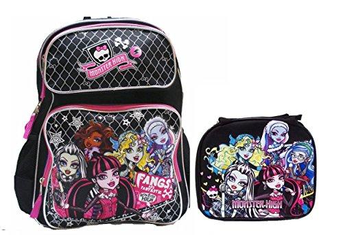 Monster High Mochila grande con bolsa de almuerzo aislada, juego de 2 piezas.