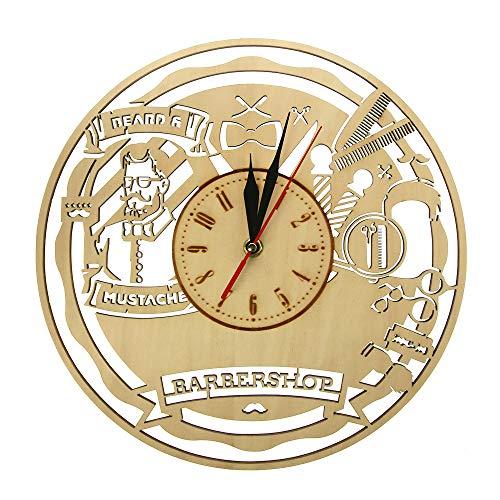 yaoyao Reloj de Pared 12 Pulgadas Diseño Moderno Barbería Decoración de Madera para el hogar Este Reloj de peluquería es el Adorno Maravilloso Regalo para Cualquier ocasión