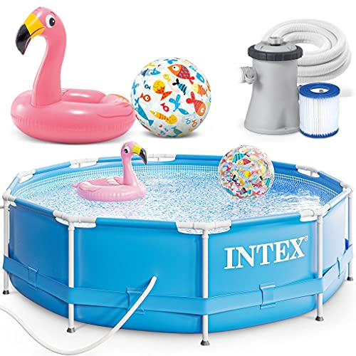 INTEX 305x76 cm Metal Frame Swimming Pool Schwimmbecken 28202 Komplett-Set mit Filterpumpe und Extra-Zubehör wie: Strandball und Schwimmring