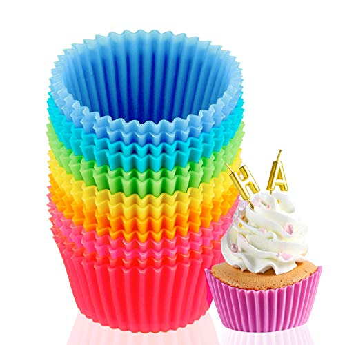 14-Pack Silicone Baking Cups, Reusable Silicone Non-Stick Cake Baking Cups, Standard Cake Mold Baking Cups, 2.7 x 1.7 x 1.3 inc(7 colors) Suitable for Making egg Muffins,Blueberry Muffins and Brownies