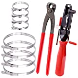 Keadic 10 Pcs Auto CV Joint Boot Clamps Pliers Car Banding Tools Kit with Universal Adjustable Stainless Steel Drive Shaft CV Boot Clamp
