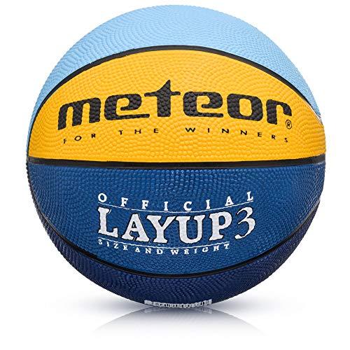 meteor® Layup Mini Basketball fur Kinder Größe #3 ideal auf die Kinderhände von 4-8 Jährigen abgestimmt idealer Jugend Basketball für Ausbildung weicher Basketball (Blau/Gelb/Grün - Größe #3)