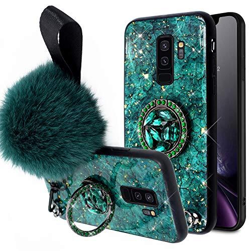 QPOLLY Kompatibel mit Samsung Galaxy S9 Plus Hülle mit Strass Bling Ring Ständer Silikon Glänzend Glitzer Goldfolie Marmor Schutzhülle Kristall klar Silikon TPU Handyhülle für Galaxy S9 Plus,Grün