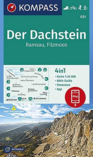 KOMPASS Wanderkarte Der Dachstein, Ramsau, Filzmoos: 4in1 Wanderkarte 1:25000 mit Panorama und Aktiv Guide inklusive Karte zur offline Verwendung in ... Langlaufen. (KOMPASS-Wanderkarten, Band 31)