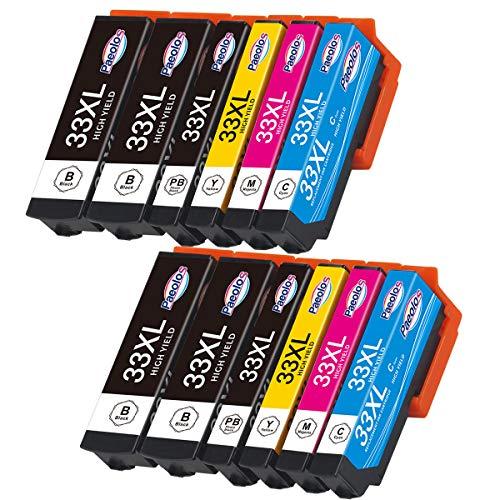 Paeolos 33XL Cartuchos de Tinta Compatible para Epson 33 33 XL para Epson Expression Premium XP-530 XP-540 XP-630 XP-635 XP-640 XP-645 XP-830 XP-900 Negro/Cian/Magenta/Amarillo