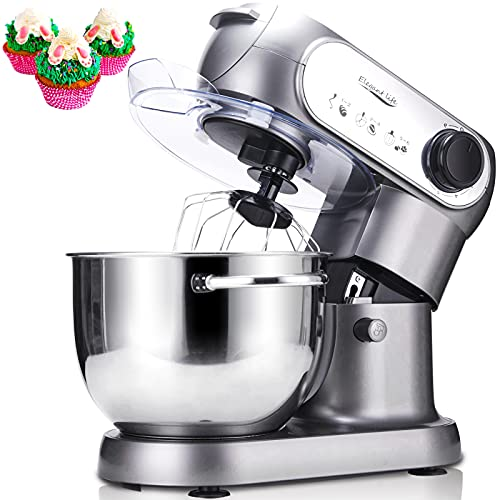 Küchenmaschine, Elegant Life 1200W Auto-Knetmaschine Rührgeräte mit 5.5L Edelstahl Rührschüssel, 6 Geschwindigkeit Teigmaschine, Schneebesen, Knethaken, Flachrührer, Spritzschutz