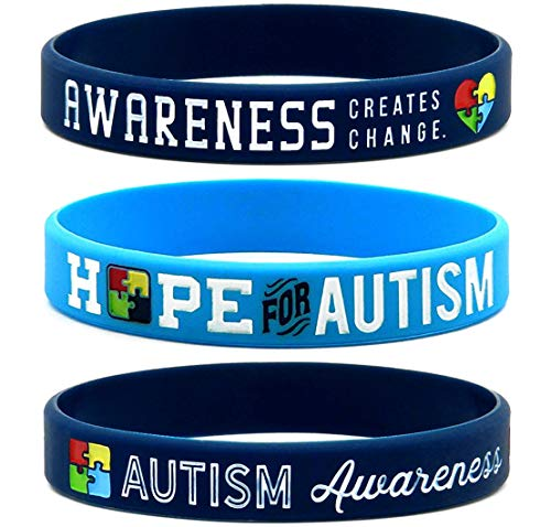 (6-Pack) Autism Awareness Bracelets - Bulk Pack of 6 Silicone Rubber Wristbands to Symbolize Hope, Love, Acceptance and Support - Autism Gifts and Accessories