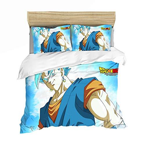 YZDM - Funda de edredón con diseño de dragón Ball Z, 1 o 2 personas, diseño de Goku Piccolo Vegeta Freeza Microfibra, multicolor, 260 x 220 cm
