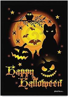 ASKLKD Halloween Garden Bannière, Yard Bienvenue Panneau d' Impression Double Face Conception de la Ferme saisonnière Cour...