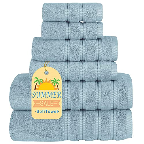 Sofi Luxury 700GSM Towels Bathroom Sets 6 Piece Soft Turkish Cotton Bath Towel Set Spa Towels Lint Free Light Blue
