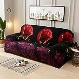 DishyKooker - Manta elástica/plillowjarrón de sofá con diseño de Flor de Rosa en 3D para el salón, Rose Rouge 3D, Quatre personnes 235-310cm
