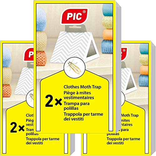 PIC Piège à Mites Paquet de Trois = 6 pièges Anti Mites - Produit Anti Mites Contre Les Mites Textiles, approprié pour la Protection de Tous Les vêtements dans l'armoire et en Stockage
