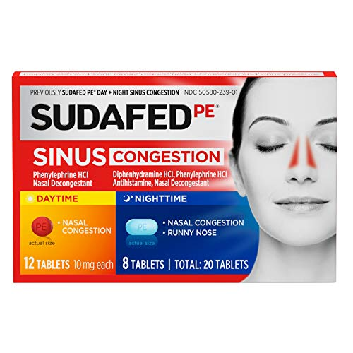 Sudafed PE Sinus Congestion Day + Night Maximum Strength Decongestant Tablets, 20 ct