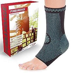 Vigo Sports Sprunggelenkbandage [2er Set] absorbiert Schweiß & Gerüche - Knöchelbandage zur Stabilisierung am Fußgelenk (Blau, XL)