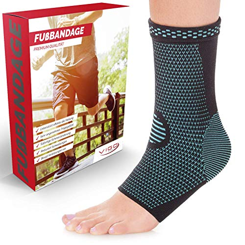 Vigo Sports Sprunggelenkbandage [2er Set] absorbiert Schweiß & Gerüche - Knöchelbandage zur Stabilisierung am Fußgelenk (Blau, S)