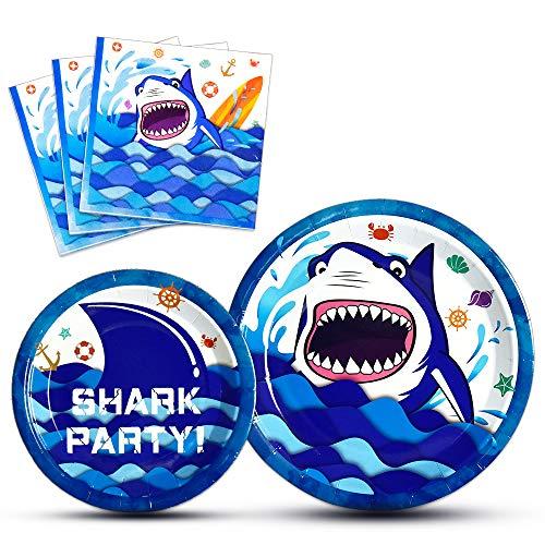 WERNNSAI Hai Partyangebot für Kinder - 48PCS Teller und Servietten Einweggeschirr Set Abendessen Dessert Babydusche Geburtstag Party Feiern (für 16 Gäste)