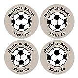 24 individuelle Namensaufkleber zum Markieren von Heften und Schul-Büchern - Fußball grau - personalisierte Sticker für Kinder - Geschenk zur Einschulung - Perfekt für die Schule - Schulbuchetiketten