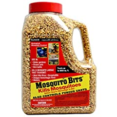 Environmentally Sound Biological Mosquito Control Sprinkle Mosquito Bits to quickly annihilate the larval population; Corn cob granules coated in Bti, the Bits (do not last long but) provide a punch, turning water black with larvae, to a clear pool v...