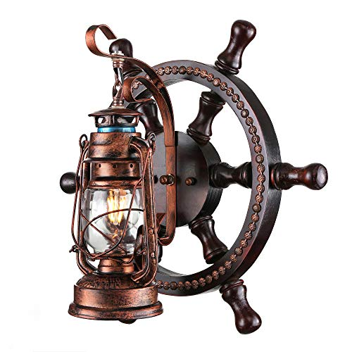 KWOKING Lighting Nautical Wall Sconces Industrial Art Deco Wall Sconce Rustic Wood Farmhouse Hanging lamp with Glass Clear Shade for Basement Hallway Cafe Rustic Lantern Wall Sconce