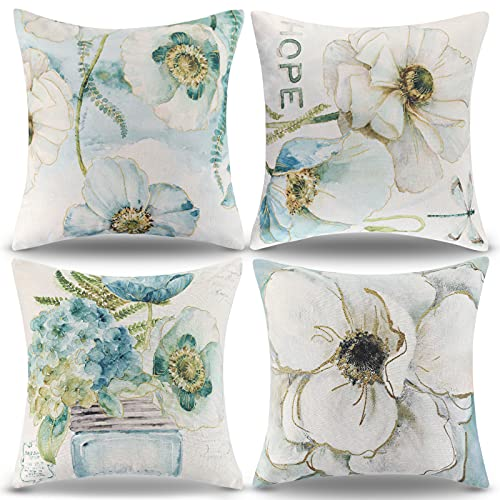 RYBornament Funda Cojín 45x45cm Cojines Decorativos de Flores Azules Funda de Almohada de Lino Cuadrada para Cojines Decorativos para Sofá Cama Coche Hogar Juego de 4