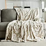 Oversized Throw Blanket Warm Elegant Softest Cozy Faux Fur Home Throw Blanket 60' x 80', Marbled Ivory