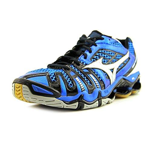 Mizuno Men's Wave Tornado 8 Blue/Silver/Black Low Top Leather Indoor Court Shoe - 16M