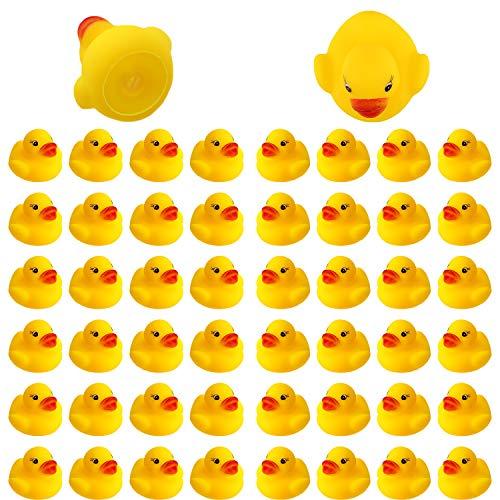 SAVITA 50 Stück Badeente Gummiente Quietscheente Badespielzeug für Kinder Float and Squeak Mini Gelbe Ente Badewannenspielzeug für Dusch Geburtstags Partyartikel