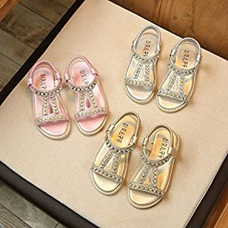 Fashion Kids Toddler Girls Open-Toe Rhinestone Sandals Shoes Children Sandals(Silver,23)