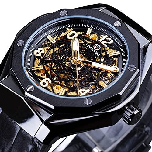 Excellent Relojes para Hombre Mecánico Automático Auto-Sinuso Correa Skeleton Luxury Impermeable Wrist Watches para Hombres,A04