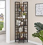 "Homissue 6 Tier Industrial Corner Shelf Unit, 76.9"" Tall Corner Bookcase Storage Display Organizer Storage Stand for Home Office"