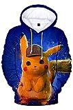 MingoTor Hombre Mujer Detective Pikachu Chaqueta con Capucha 3D Pulóver con Capucha Chaqueta de Sudor Hoodie Disfraz Traje de Cosplay Ropa Unisexo XL