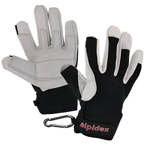 ALPIDEX Klettersteighandschuhe Mountain Mamba Unisex Echtleder Lederhandschuhe Kletterhandschuhe Finger Gloves Via Ferrata Daumen und Zeigefinger offen, Größe:XL, Farbe:Wild Black