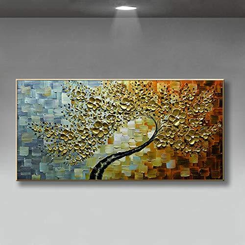 Handgeschilderd olieverfschilderij kunstwerk op canvas, groot geld gele dikte gelukkige bloemen, abstract landschap moderne bruiloftsdecoratie slaapkamer nachtwand hangen schilderijen Scandinavische horizontale versie voor thuiskantoor 70×140cm(28×56 inch)
