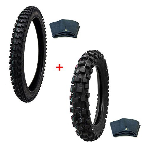 MMG Tire Set Off Road Knobby Front Tire Size 80/100-21, Includes Inner Tube, Rear Tire Size 110/100-18 with Inner Tube