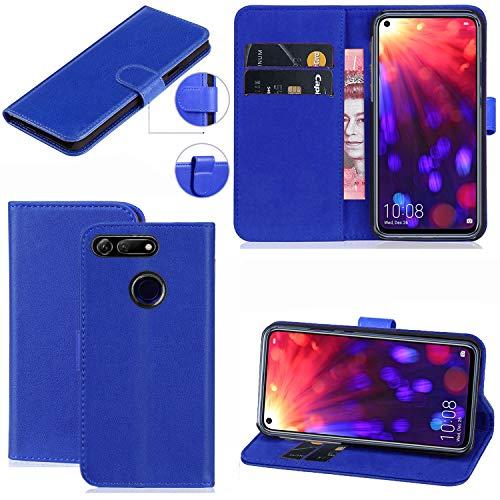 Huawei Honor View 20 Hülle, Premium PU Leder Flip Wallet Handyhülle mit Magnetverschluss Ständer Kartenhalter für Huawei Honor View 20 (blau)