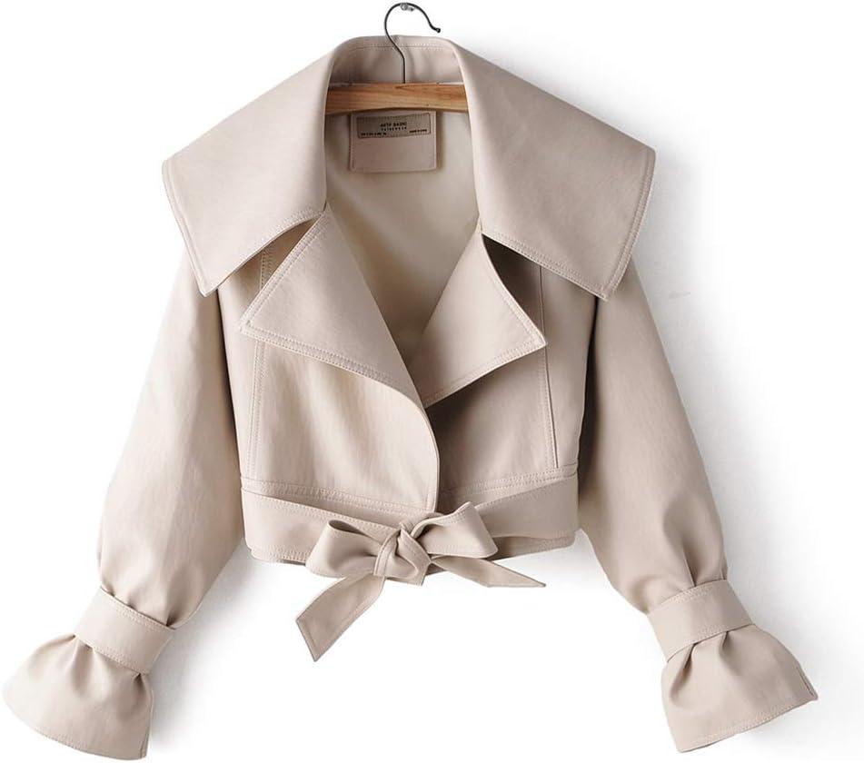 Hzikk Fashion Lapel Bow Frenulum Leather Jacket Females Locomotive Pu Leather Clothing Short Coats,Beige,L