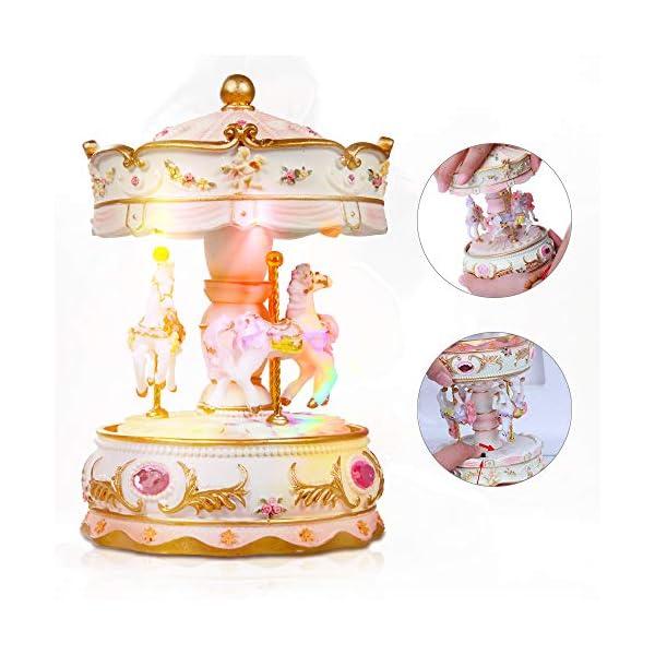 Dragon-Hub Music Box 3-Horse Carousel Gifts for Kids Children Girls Christmas Birthday Valentine's Gifts Decorations… 6