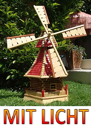 ÖLBAUM XL Premium-Solar-Windmühle Holzwindmühle, Windmühlen Garten, imprägniert + kugelgelagert 1 m groß rot lasiert hell weinrot + Natur MIT SOLARBELEUCHTUNG