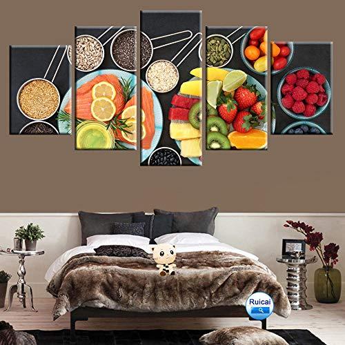 LIVELJ Multi-Gourmet Fruit Picture Poster Canvas Painting 5 Panel HD Print for Kitchen Restaurant Wall Artist Residence Decorative Mura Framed